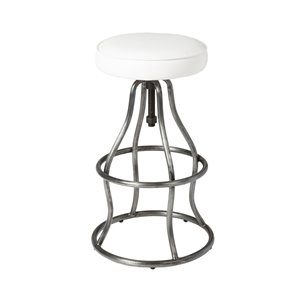 LH Imports Bowie Bar Stool -  26-in - White Leather
