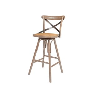 LH Imports Bistro Counter Stool - 24-in - Ash - Set of 2