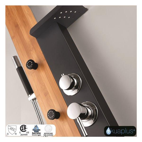 Akuaplus® Naya  Shower Panel - Black Matte and Real Bamboo