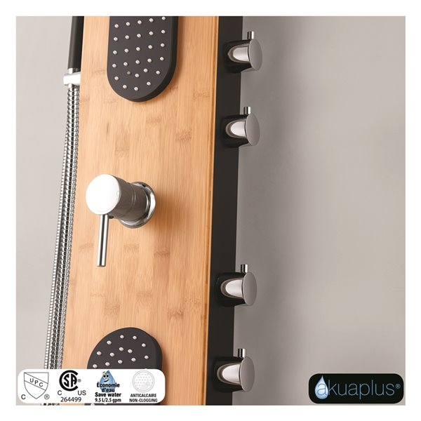Akuaplus® ABBY  Shower Panel - Black Matte and Real Bamboo