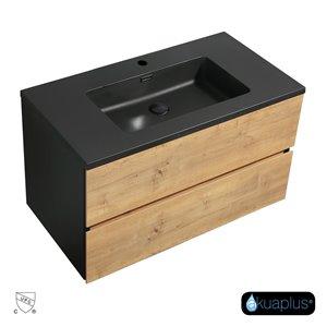 Meuble-lavabo mural ELLA  akuaplus® 2 tiroirs,  fini Chêne rustique et noir mat
