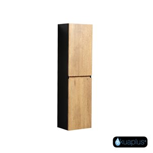 ELLA The akuaplus® Wall-Mounted Linen Cabinet - Rustic Oak and black finish