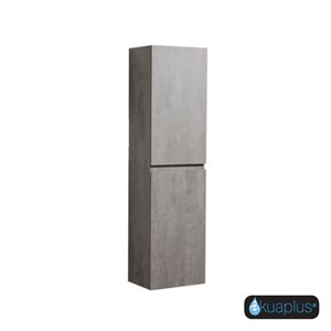 ELLA The akuaplus® Wall-Mounted Linen Cabinet - Concrete Gray finish