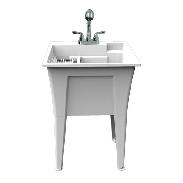 RuggedTub Nova All-in-one Heavy-Duty Laundry Sink with Faucet - White - 24-in