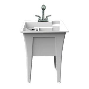 Cuve de lavage tout-en-un Nova RuggedTub avec robinet, blanc, 24 po