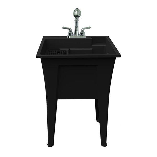 Cuve de lavage tout-en-un Nova RuggedTub avec robinet, noir, 24 po