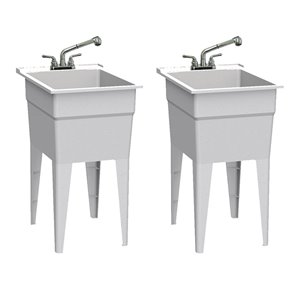 Cuve de lavage classique tout-en-un RuggedTub avec robinet, granite, 18 po, boîte de 2