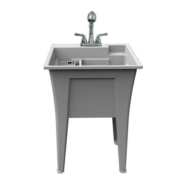 Cuve de lavage tout-en-un Nova RuggedTub avec robinet, granite, 24 po