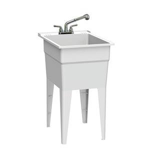 Cuve de lavage classique tout-en-un RuggedTub avec robinet, blanc, 18 po