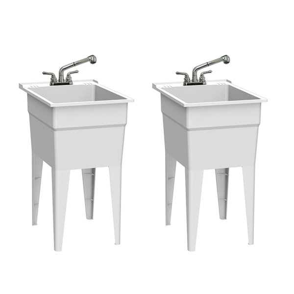 RuggedTub All-in-one Laundry Sink with Faucet Narrow Classic - White - 18-in - Box of 2