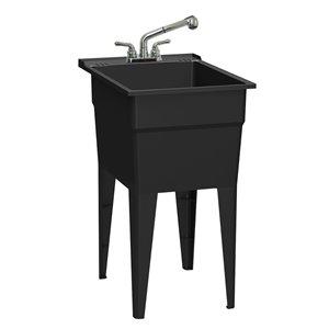 Cuve de lavage classique tout-en-un RuggedTub avec robinet, noir, 18 po