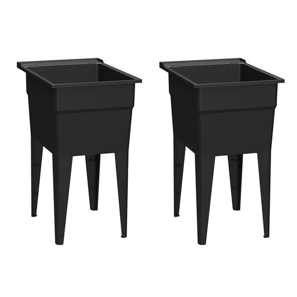 Cuve de lavage classique RuggedTub, noir, 18 po, boîte de 2