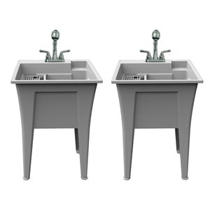 RuggedTub Nova All-in-one Heavy-Duty Laundry Sink with Faucet 24-in - Granit - Box of 2