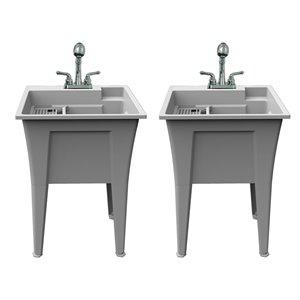 Cuve de lavage tout-en-un Nova RuggedTub avec robinet, granite, 24 po, boîte de 2