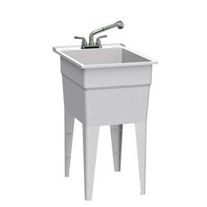 Cuve de lavage classique tout-en-un RuggedTub avec robinet, granite, 18 po