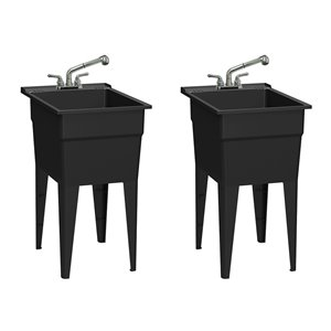 RuggedTub All-in-one Laundry Sink with Faucet Narrow Classic - Black - 18-in - Box of 2