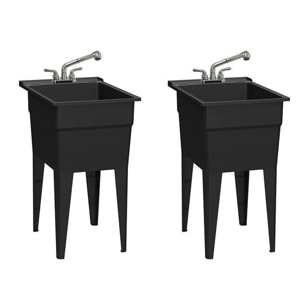 Cuve de lavage classique tout-en-un RuggedTub avec robinet, noir, 18 po, boîte de 2