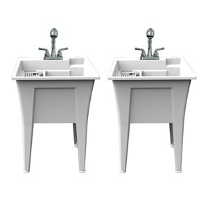 RuggedTub Nova All-in-one Heavy-Duty Laundry Sink with Faucet 24-in - Box of 2 - White