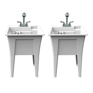 Cuve de lavage tout-en-un Nova RuggedTub avec robinet, blanc, 24 po, boîte de 2