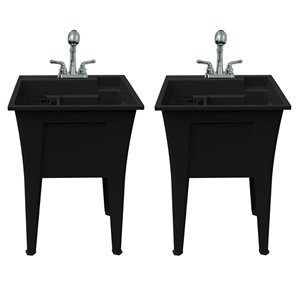 RuggedTub Nova All-in-one Heavy-Duty Laundry Sink with Faucet 24-in - Black - Box of 2