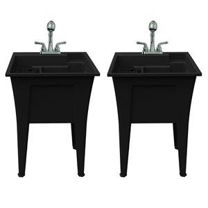 Cuve de lavage tout-en-un Nova RuggedTub avec robinet, noir, 24 po, boîte de 2