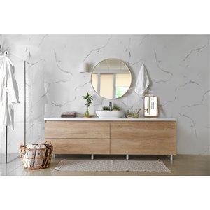 Panneau décoratif mural Surface Design, marbre blanc, 4 pi x 8 pi