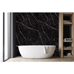 Panneau décoratif mural Surface Design, marbre noir, 4 pi x 8 pi