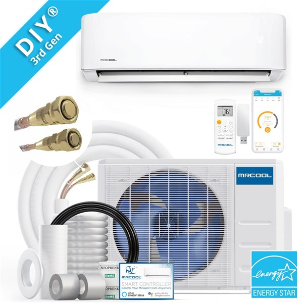 MRCOOL DIY 3rd Gen 12 000 BTU 22 SEER Energy Star Ductless Mini-Split AC and Heat Pump - Wifi Remote Control