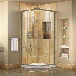 DreamLine Prime Corner Sliding Shower Enclosure in Brushed Nickel - Clear Glass - White Base Kit - 38-in