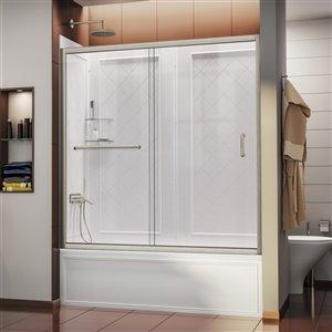DreamLine Infinity-Z Sliding Tub Door & Backwalls - Nickel - 56-60-in W