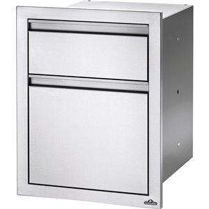 Napoleon Outdoor Kitchen Cabinet - Double Drawer with Waste Bin - 19.75-in - Stainless Steel