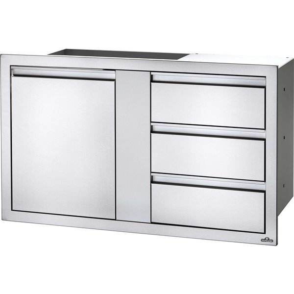 Napoleon Outdoor Kitchen Cabinet 1 Door And 3 Drawer 42 In X 24 In Stainless Steel Bi 4224 1d3dr Rona