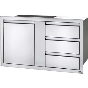 Napoleon Outdoor Kitchen Cabinet - 1-Door and 3-Drawer - 42-in x 24-in - Stainless Steel