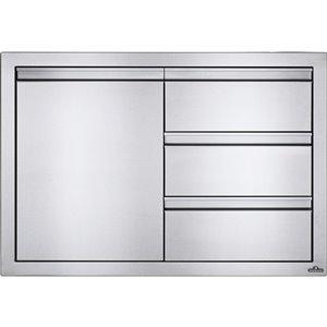 Cabinet pour cuisine extérieure de Napoleon, 1 porte et 3 tiroirs, 36 po x 24 po, acier inoxydable