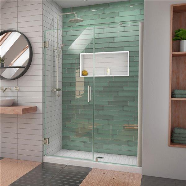 DreamLine Unidoor-LS Shower Door - 48-in x 72-in - Brushed Nickel