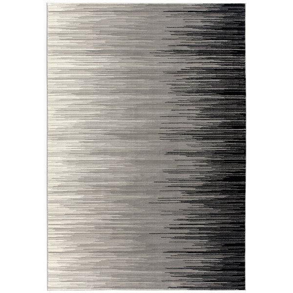 Tapis d'entrée moderne Montage de Rug Branch, rectangulaire, 2 pi 3 po x 4 pi, gris noir