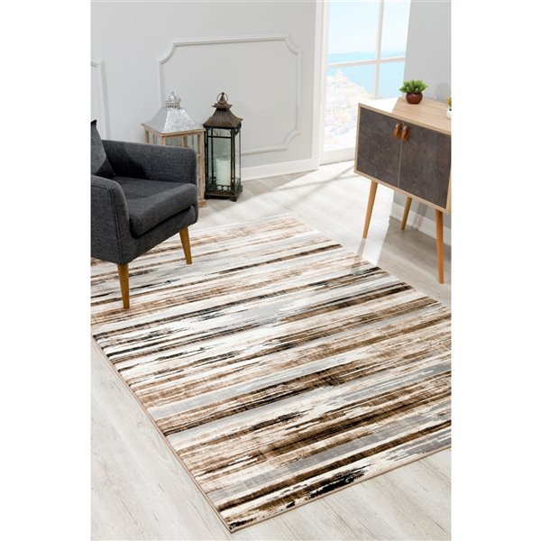 Rug Branch Montage Modern Entrance Area Rug - Rectangular - 2-ft 3-in x 6-ft - Beige