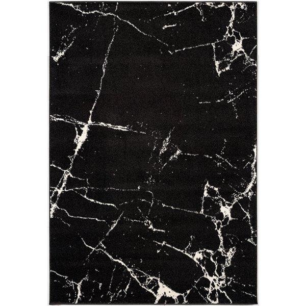 Tapis moderne Nova de Rug Branch, rectangulaire, 6 pi 6 po x 9 pi 4 po, noir