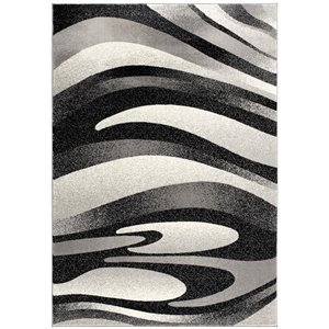 Rug Branch Montage Modern Area Rug - Rectangular - 6-ft 6-in x 9-ft 4-in - Black Gray