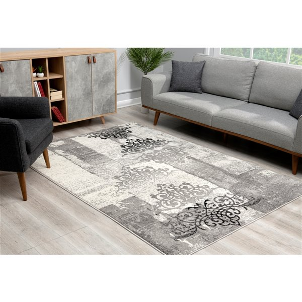 Rug Branch Montage Modern Entrance Area Rug - Rectangular - 2-ft 3-in x 4-ft - Gray
