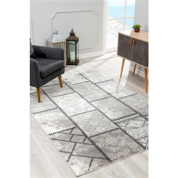 Rug Branch Montage Modern Area Rug - Rectangular - 3-ft 9-in x 5-ft 9-in - Gray