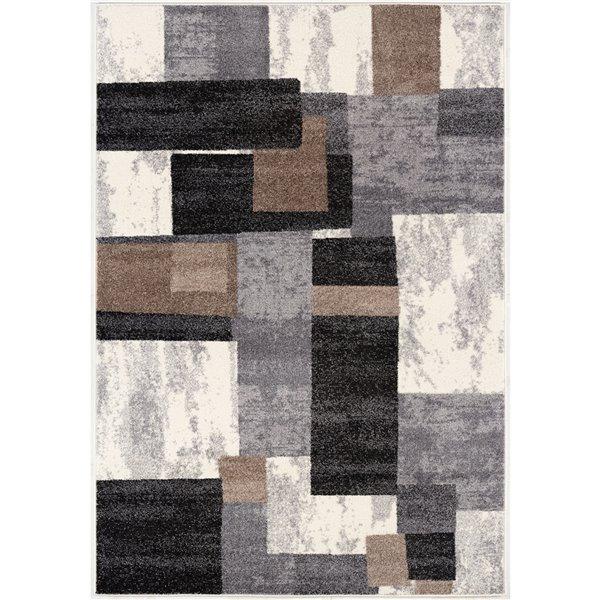 Tapis moderne Nova de Rug Branch, rectangulaire, 6 pi 6 po x 9 pi 4 po, blanc marron