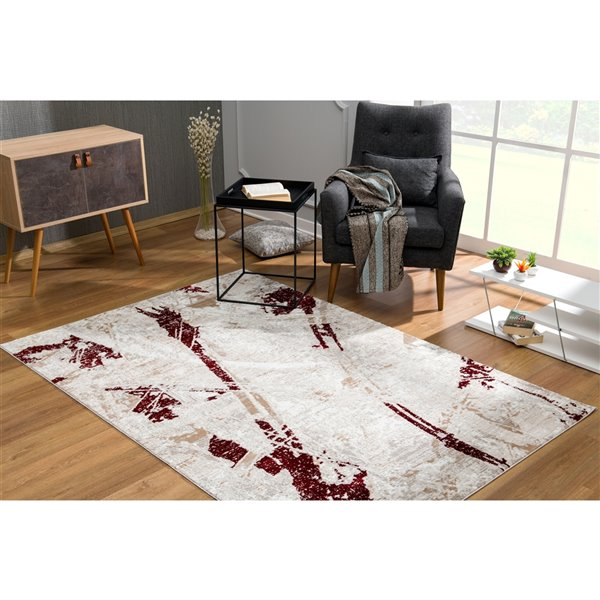 Rug Branch Cascade Modern Area Rug - Rectangular - 6-ft 6-in x 9-ft 6-in - Red