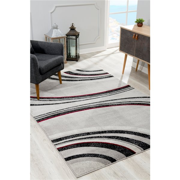 Rug Branch Montage Modern Area Rug - Rectangular - 2-ft 8-in x 5-ft - Gray