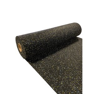 RubberMax Roll - Rubber Floor Tile - 300-in x 48-in - 100 sq ft - Black, flecked yellow/blue/white