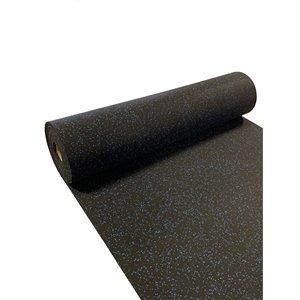 Revêtement de sol de caoutchouc RubberMax, 300 po x 48 po, 100 pi², noir tacheté bleu