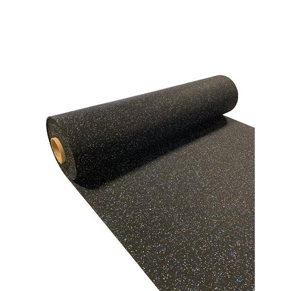 RubberMax Roll - Rubber Floor Tile - 300-in x 48-in - 100 sq ft - Black, flecked blue/gray