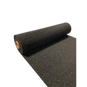 Revêtement de sol en caoutchouc RubberMax, 300 po x 48 po, 100 pi², noir tacheté bleu/gris
