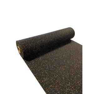 RubberMax Roll - 300-in x 48-in - 100 sq ft - Black, flecked orange/blue/white