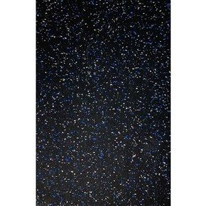 Revêtement de sol en caoutchouc RubberMax, 600 po x 48 po, 200 pi², noir tacheté bleu/gris